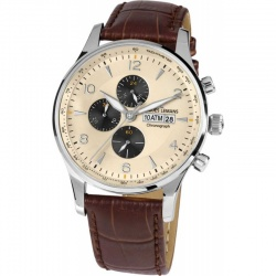 Jacques Lemans London 1-1844C Quarz Chronograph mit Lederarmband 10 ATM
