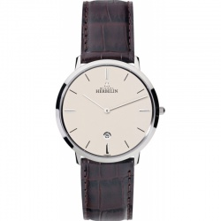 Michel Herbelin City 39 mm Medium Armbanduhr 19515-17MA mit braunem Lederband