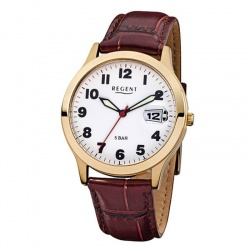Regent Herrenuhr Quartz 5 bar Stahl Gold-plattiert...
