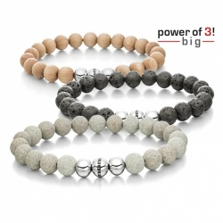Set: 3 Armbänder - Power of 3! - big - Ahorn - Lava - Beton; Größe S = 16 cm