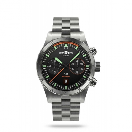 Fortis Flieger F-43 Chronograph Bicompax Pilot Green F.424.0004 Automatik