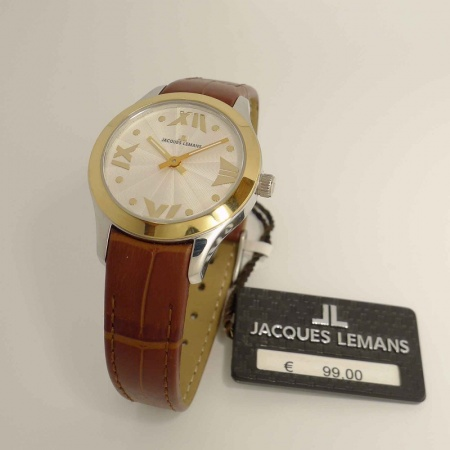 Jacques Lemans Rome La Passion 1-1643B bicolor Damenuhr mit braunem Band