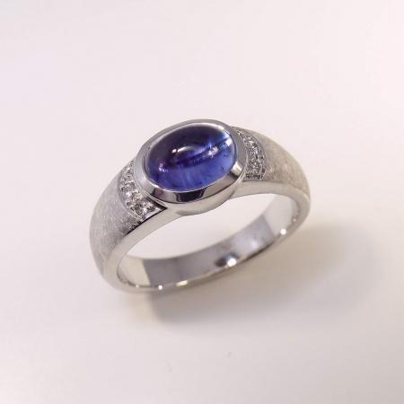 ring 585 wei gold mit tansanit und 6 diamanten. Black Bedroom Furniture Sets. Home Design Ideas