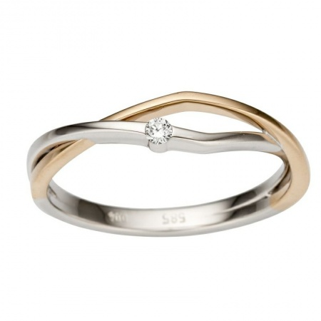 Ring Brillant 585 bicolor Weißgold Rotgold 0,04 ct W-si