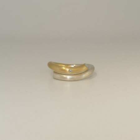 Siegfried Becker Ring 925/-Silber & 750/-Gold mit Brillant 0,01 ct w-vs 3 mm