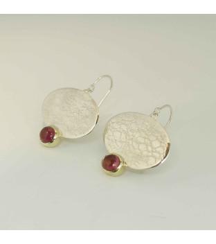 SET - Silberanhänger - Halsreif & Ohrringe mit rosa Turmalin in 585/- Gelbgold gefasst