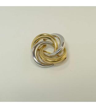 Leichte Brosche / Anstecknadel bicolor aus 333 Gold -...