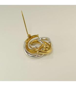 Leichte Brosche / Anstecknadel bicolor aus 333 Gold - Blume - 2,8g - gebraucht