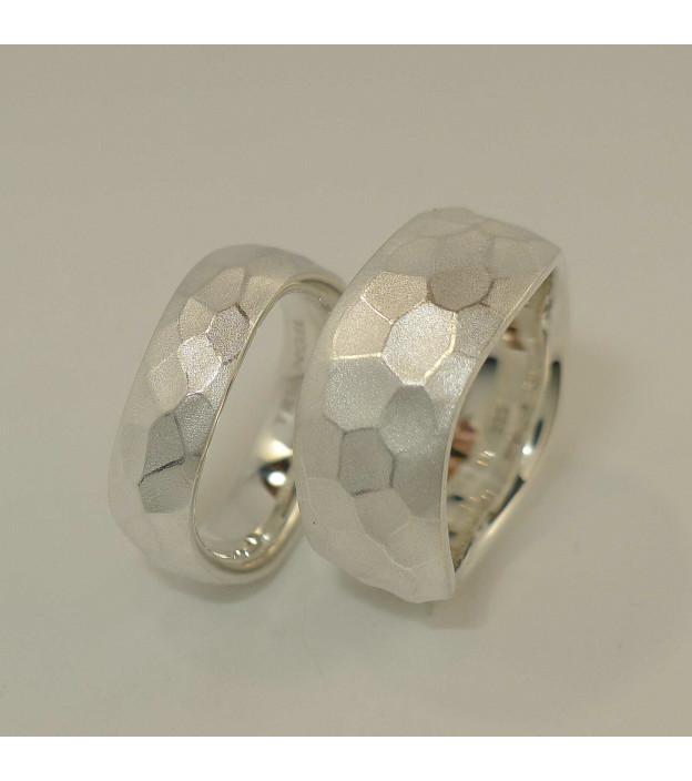 Triangel Ring Hammerschlag Welle 925 Sterling-Silber