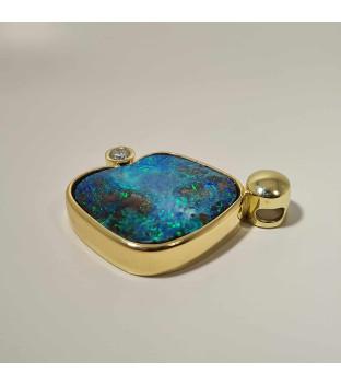 Opal-Anhänger Boulder aus 585 Gelbgold mit Brillant...