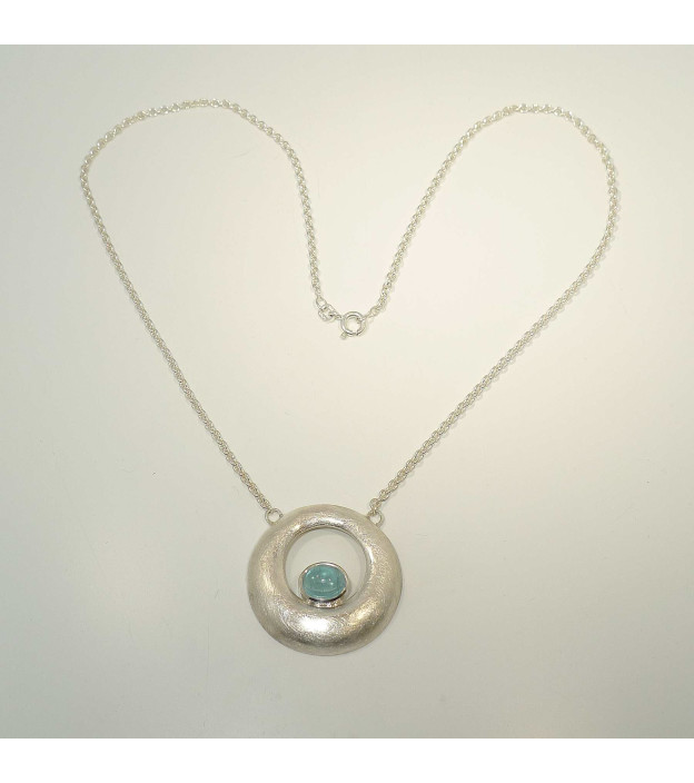 Collier Donut Silber mit Aquamarin-Cabochon Handarbeit