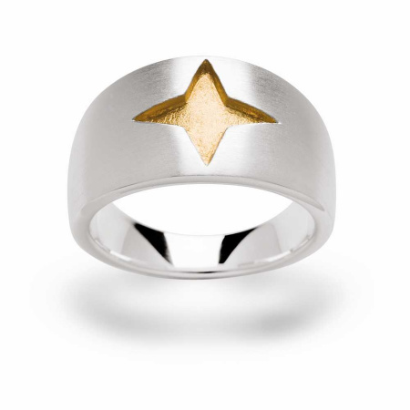 bastian inverun Ring Silber mit Stern vergoldet Gr. 56 - 10505