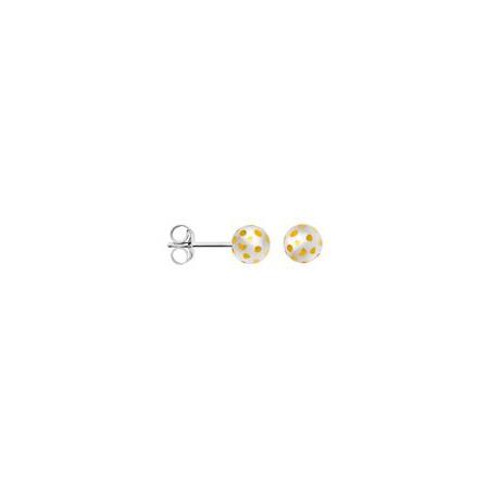 bastian inverun 12004 Ohrstecker Kugel bicolor 6,0 mm 925-Silber