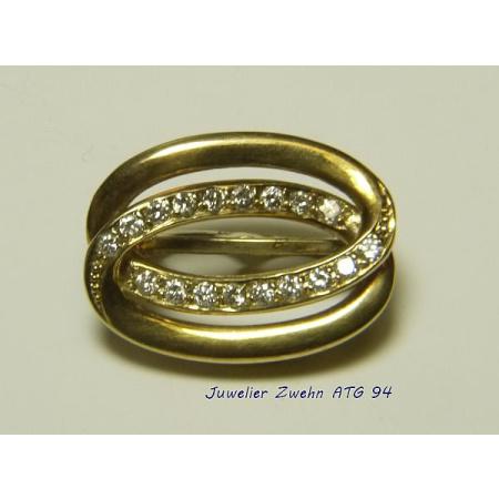 Perlclip Verkürzer 585 Gold mit 18 Diamanten - gebraucht - aufgearbeitet