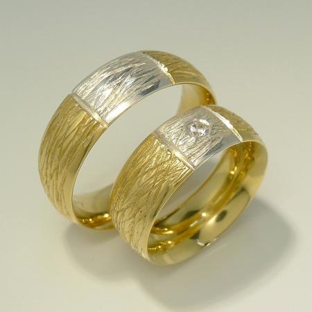 Trauringe Rustico bicolor PAAR 585-Gold