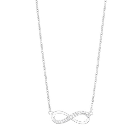 s.Oliver Silber- Collier Infinity mit Zirkonia besetzt in der Länge 42 + 3 cm
