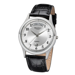 Regent Herrenuhr Quartz 5 bar Stahl Tag/Datum Lederband...