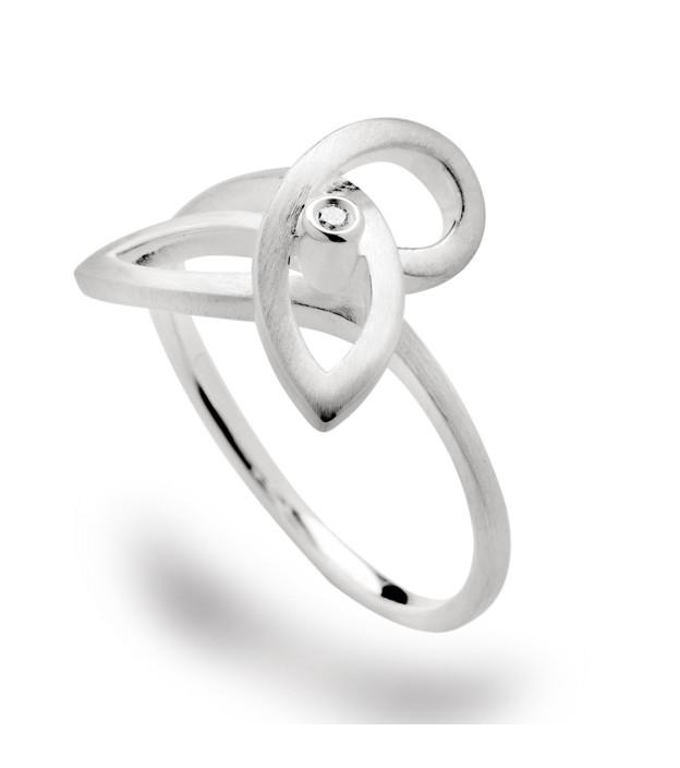 bastian inverun Damenring 22630 Schleife aus 925 Sterling-Silber mit Diamant