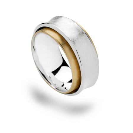 bastian inverun Damenring Weite 56 bicolor 925-Silber teilvergoldet