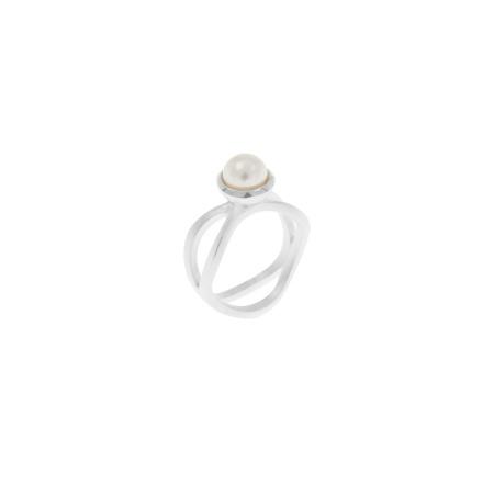 Tezer Ring geschwungen mit Perle Weite 54
