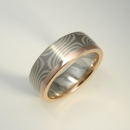 Mokume-Gane-Ring Ag925/Pd500 + Rotgold 585 Weite 56