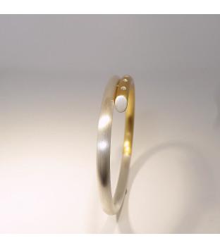 Armreif Silber 925 und Gelbgold 750