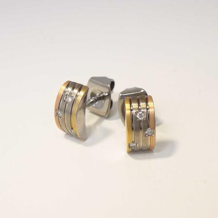 Boccia Titanium Ohrstecker 05006-03  tricolor mit Brillanten 0,03ct