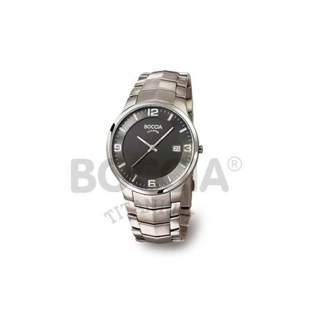 Boccia Titanium Herrenuhr mit Metallband und schwarzem Ziffernblatt 3561-02