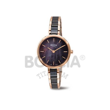 Boccia Damenuhr 3245-03 Ceramic schwarz/rosé Saphirglas