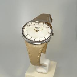 Boccia Damenuhr oval 3165-17 Perlmutt Lederband beige