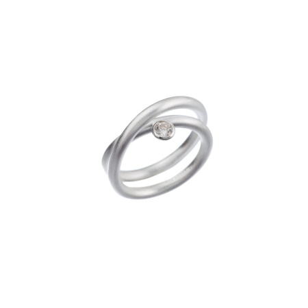 Tezer Ring Silber 925 Runddraht gekreuzt matt mit Zirkonia in Zargenfassung Weite