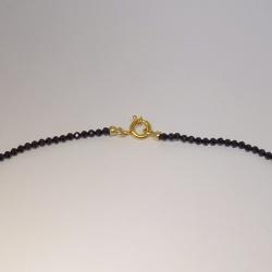 Steinkette schwarzer Spinell facettiert 2 mm 42 cm mit Double-Federring