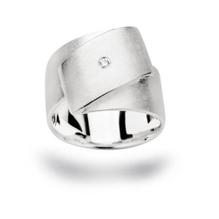 bastian inverun Damenring mit Diamant Weite 56 aus 925-Silber