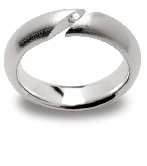 bastian inverun Damenring Weite 56 aus 925 Silber mit Diamant 0,03 ct