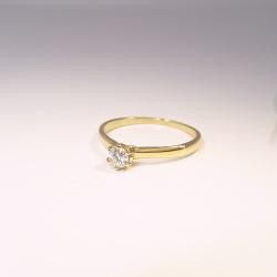 Solitär Verlobungsring Gelbgold 585 mit 0,17 ct Brillant - Weite 54