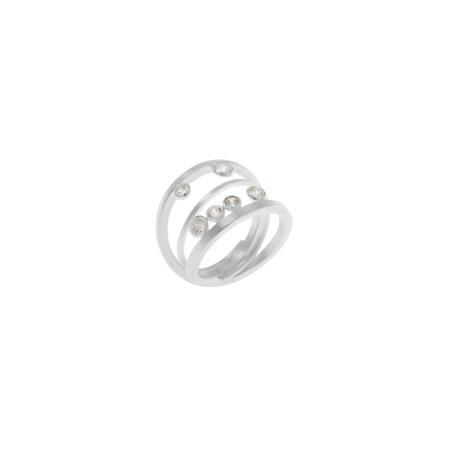 Tezer Damenring 3-reihig aus 925 Silber mit Zirkonias