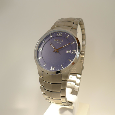 Boccia Titanium Herrenuhr mit Metallband und blauem Ziffernblatt 3561-04