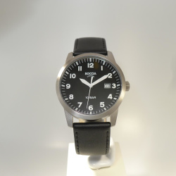 Boccia Titanium Herrenuhr mit schwarzem Ziffernblatt und Lederband 597-03