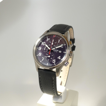Boccia Titanium Herrenuhr Chronograph mit schwarzem Ziffernblatt 3756-04