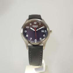 Boccia Titanium Herrenuhr mit schwarzem Ziffernblatt und Lederband 3587-05