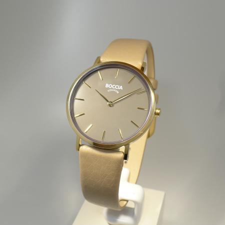 Boccia Titanium Damenuhr Lindo bicolor/grau/beige 3 Bar Lederband 3273-04