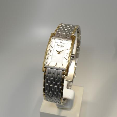 Boccia bicolor Damenuhr Titan/teil-goldplattiert eckig mit Titanband 3212-09
