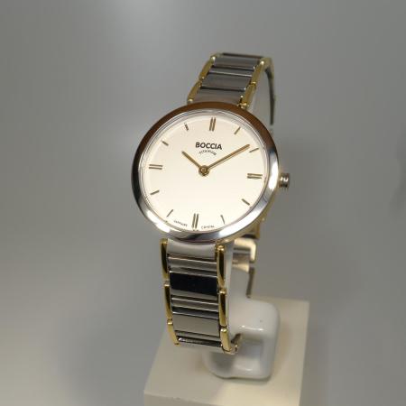 Boccia Titanium Damenuhr Style bicolor teil-goldplattiert mit Saphirglas 3252-03