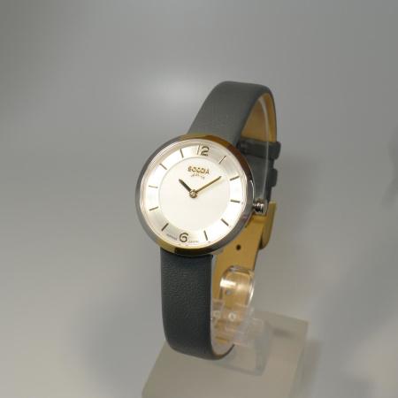 Boccia Damenuhr mit nur 28 mm Durchmesser - Lederband und Saphirglas 3266-04