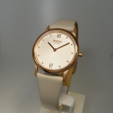 Boccia Titanium Damenuhr roségold-plattiert mit beigem Lederband 3265-03