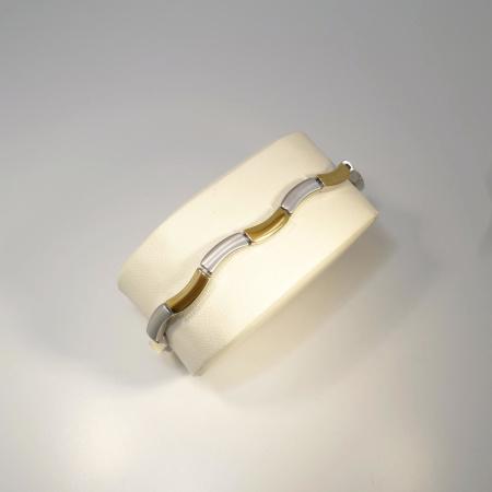 Boccia bicolor Armband geschwungen Titan teil-goldplattiert 21 cm 0370-02