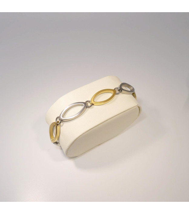 Boccia bicolor Armband 0372-02 navette teil-goldplattiert 19 cm