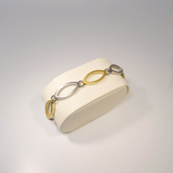Boccia bicolor Armband navette teil-goldplattiert 19 cm...