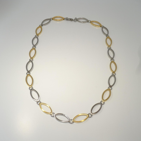 Boccia bicolor Collier navette teil-gooldplattiert 45 cm 0846-02
