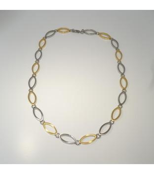 Boccia bicolor Collier navette teil-goldplattiert 45 cm...